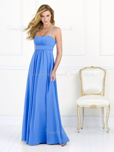 Empire Sleeveless A-line Spaghetti-Straps Light-Sky-Blue Bridesmaid Dress