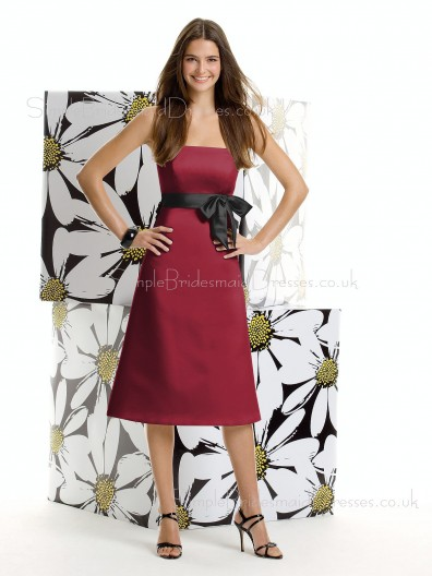 Strapless A-line Empire Satin Sleeveless Bridesmaid Dress
