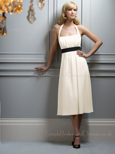 Sleeveless Tea-length Natural A-line Draped/Ruffles/Sash Bridesmaid Dress