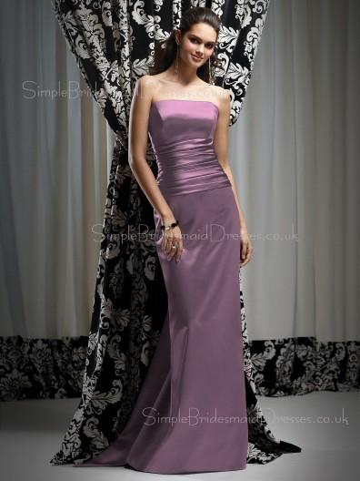 Sleeveless Strapless Sheath Natural Elastic-Satin Bridesmaid Dress