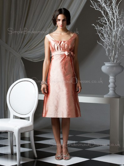 Taffeta Bateau Zipper Sleeveless Bow/Ruffles/Sash Bridesmaid Dress
