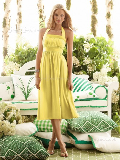 Tea-length Halter Empire Draped/Ruffles/Sash Daffodil Bridesmaid Dress
