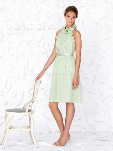 A-line Green Draped/Flowers/Ruffles/Sash Knee-length Sleeveless Bridesmaid Dress