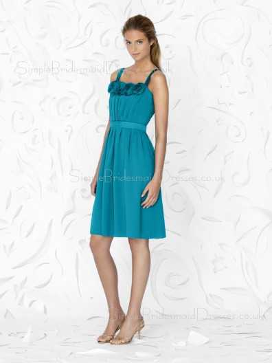Knee-length A-line Zipper Chiffon Straps Bridesmaid Dress
