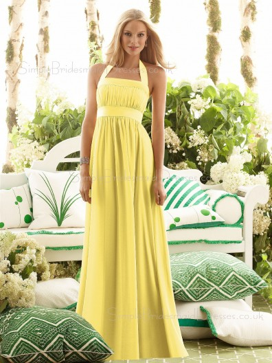 Halter Draped/Ruffles/Sash Daffodil Zipper Floor-length Bridesmaid Dress