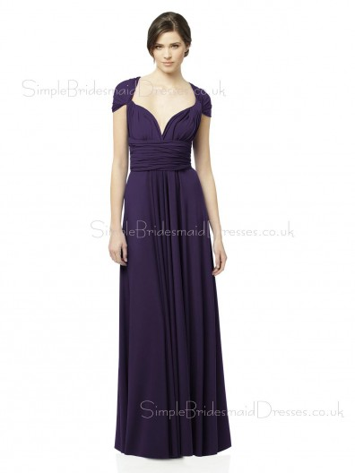 Zipper Grape Sweetheart Short-Sleeve Empire Bridesmaid Dress