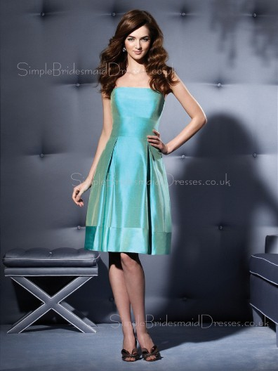 Draped Strapless Sleeveless Natural Light-Sky-Blue Bridesmaid Dress