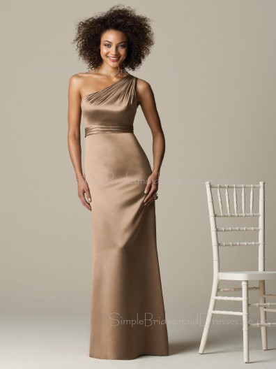 Sleeveless Ruffles Sheath One-Shoulder Zipper Bridesmaid Dress