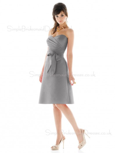 satin Sweetheart Zipper Bow/Ruffles A-line Bridesmaid Dress