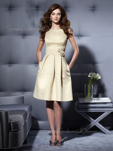 Champagne Zipper Sleeveless Knee-length A-line Bridesmaid Dress