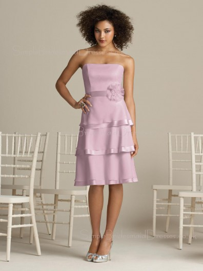 Zipper Chiffon Flowers/Tiered A-line Strapless Bridesmaid Dress