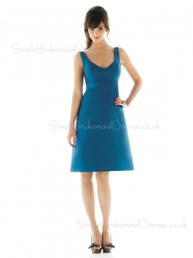 A-line Blue Draped Empire Zipper Bridesmaid Dress
