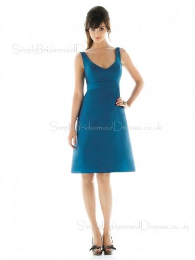 A-line Blue Draped Empire Zipper Bridesmaid Dress