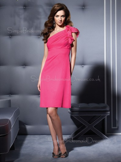 One-Shoulder Empire Flowers/Ruffles A-line Zipper Bridesmaid Dress
