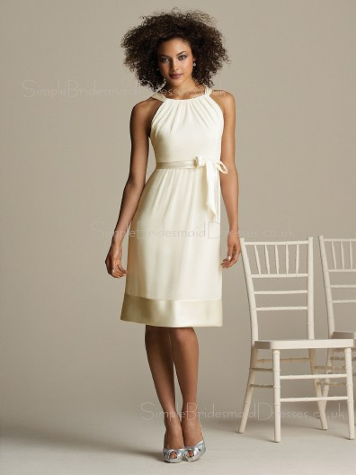 A-line Natural Ruffles/Sash Sleeveless Chiffon Bridesmaid Dress