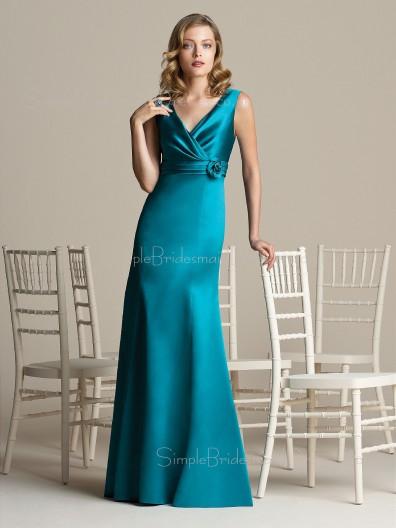 Mermaid Floor-length Elastic-Satin Blue Zipper Bridesmaid Dress