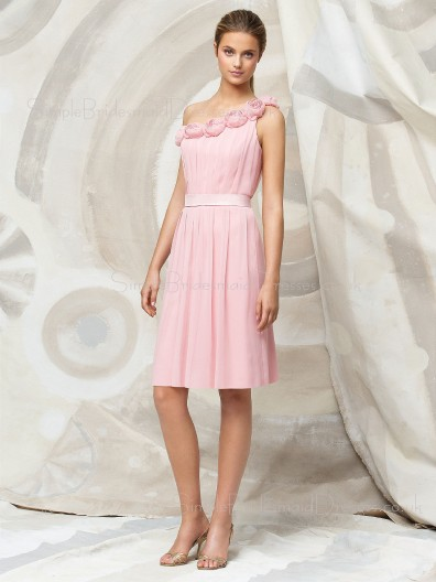 Sleeveless Chiffon Draped/Flowers/Ruffles One-Shoulder Zipper Bridesmaid Dress