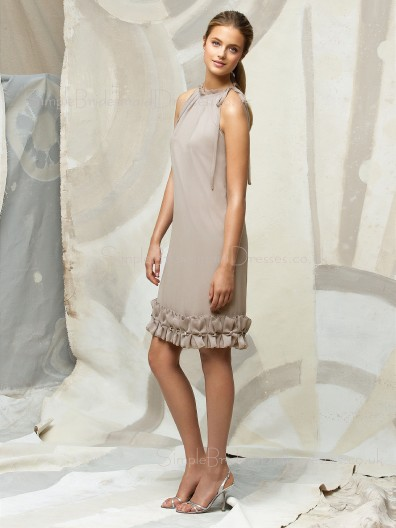 Champagne Natural Chiffon Flowers/Ruffles Zipper Bridesmaid Dress