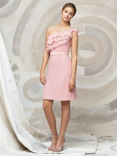 A-line Ruffles/Tiered One-Shoulder Pink Zipper Bridesmaid Dress