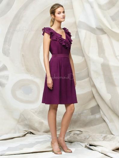 Chiffon Zipper A-line Knee-length V-neck Bridesmaid Dress
