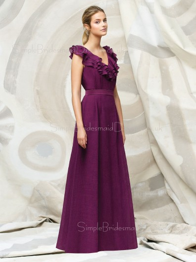 Grape Zipper Sleeveless Natural Floor-length Bridesmaid Dress