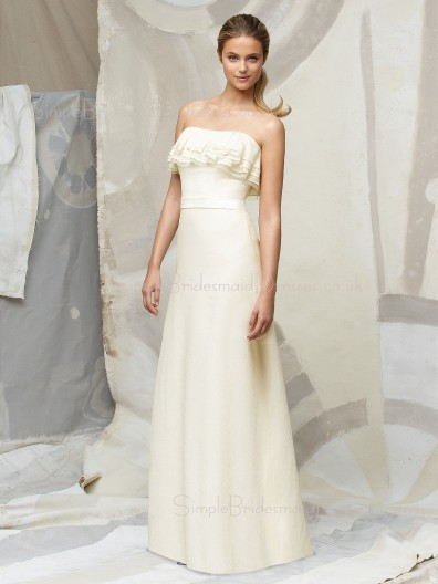 Ivory Natural Draped/Ruffles/Sash/Tiered Zipper Chiffon Bridesmaid Dress
