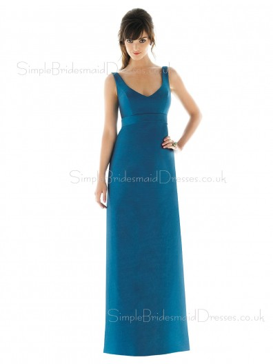 Draped/Ruffles Zipper Floor-length Sheath Empire Bridesmaid Dress