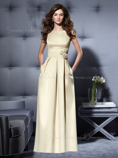 Bateau Sleeveless Satin Zipper A-line Bridesmaid Dress