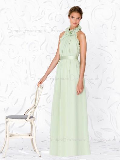 A-line Sleeveless Green Floor-length Draped/Flowers/Ruffles/Sash Bridesmaid Dress