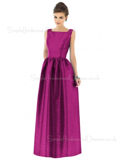Floor-length Natural Straps A-line Taffeta Bridesmaid Dress