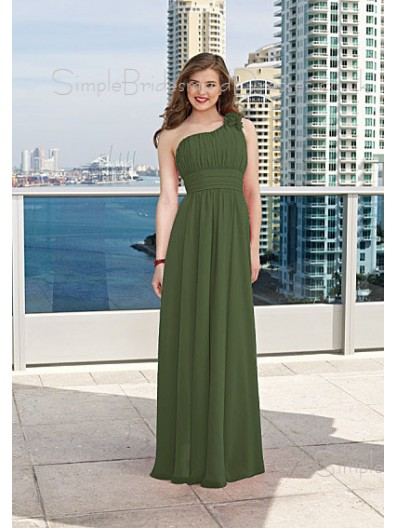 Sleeveless A-line Floor-length Dark-Green Chiffon Bridesmaid Dress