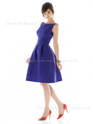 Satin Zipper Bateau Royal-Blue Natural Bridesmaid Dress
