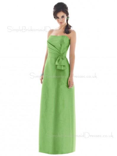 Bow/Ruffles Green Floor-length Strapless Satin Bridesmaid Dress