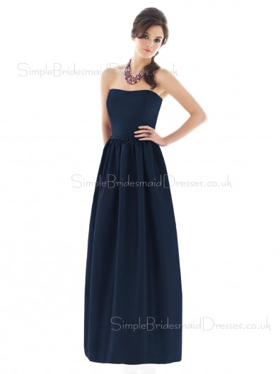 Strapless Satin Floor-length Zipper Draped/Ruffles/Sash Bridesmaid Dress