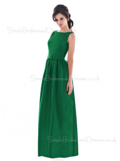 Draped/Ruffles/Sash Satin Bateau Floor-length Zipper Bridesmaid Dress