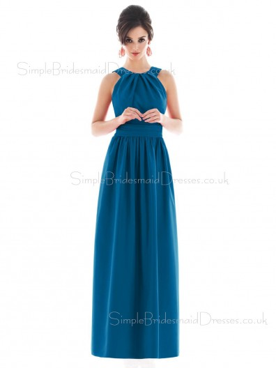 Blue Satin Draped/Ruffles Sleeveless Zipper Bridesmaid Dress