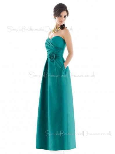 Floor-length Zipper Taffeta Draped/Flowers/Ruffles A-line Bridesmaid Dress
