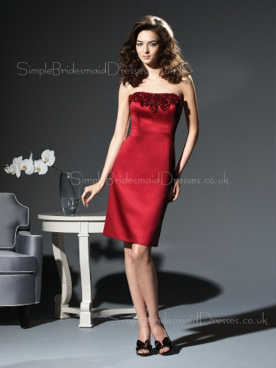 Burgundy Sleeveless Sheath Flowers Knee-length Bridesmaid Dress