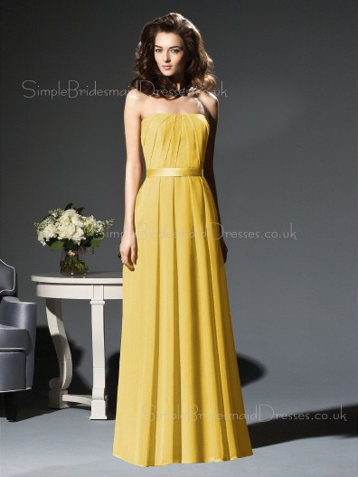 Zipper Strapless Chiffon Draped/Ruffles/Sash A-line Bridesmaid Dress