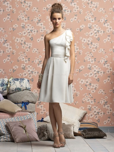 Ivory Natural Draped/Ruffles/Sash One-Shoulder A-line Bridesmaid Dress