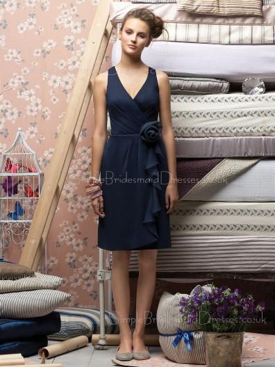 V-neck Dark-Navy Zipper Flowers/Ruffles Knee-length Bridesmaid Dress