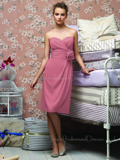 Flowers/Ruffles A-line Sleeveless Sweetheart Empire Bridesmaid Dress