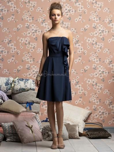 Chiffon Knee-length A-line Natural Strapless Bridesmaid Dress