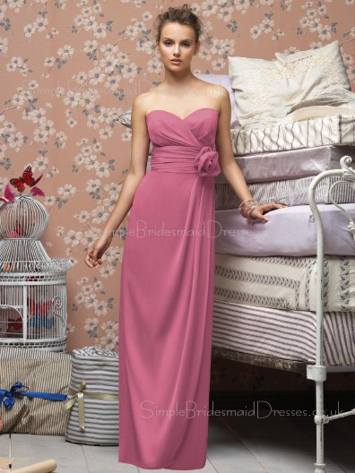 Draped/Flowers/Ruffles Pink Floor-length Empire Sleeveless Bridesmaid Dress
