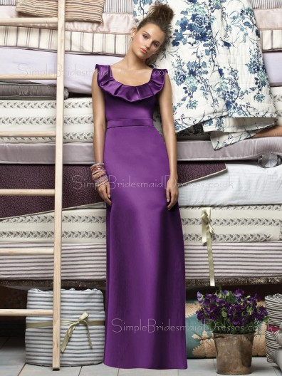 Sleeveless Empire Straps Grape Satin Bridesmaid Dress