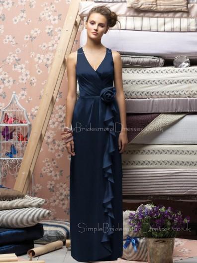 V-neck Chiffon Dark-Navy Floor-length Zipper Bridesmaid Dress