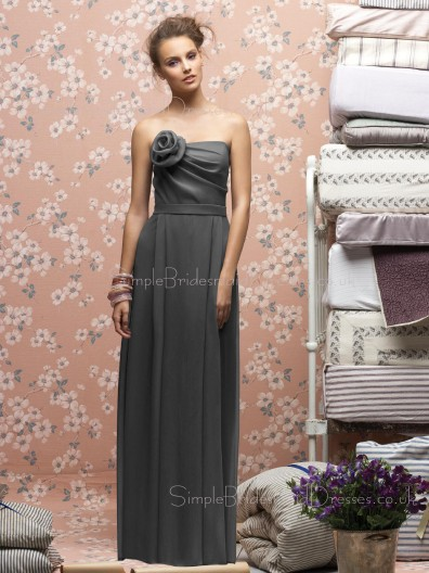 A-line Strapless Draped/Flowers/Ruffles Sleeveless Zipper Bridesmaid Dress