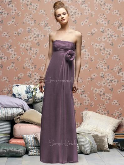 Floor-length Draped/Flowers/Ruffles Zipper Empire Chiffon Bridesmaid Dress