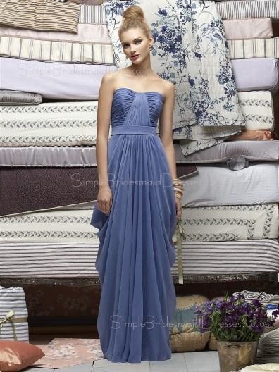 A-line Lavender Draped/Ruffles Floor-length Empire Bridesmaid Dress