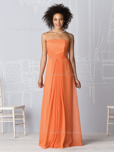 Sleeveless Orange A-line Floor-length Natural Bridesmaid Dress